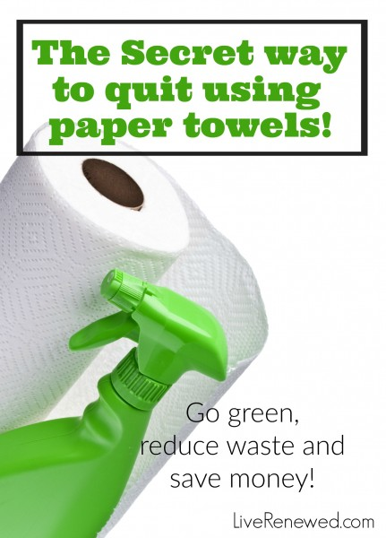 Are you frustrated with the amount of money and waste created by using paper towels in your home, but are unsure how to kick the habit? Check out this secret way to quit using paper towels and go green, reduce waste, and save money all at the same time!
