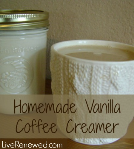 Homemade Vanilla Coffee Creamer with real food ingredients from LiveRenewed.