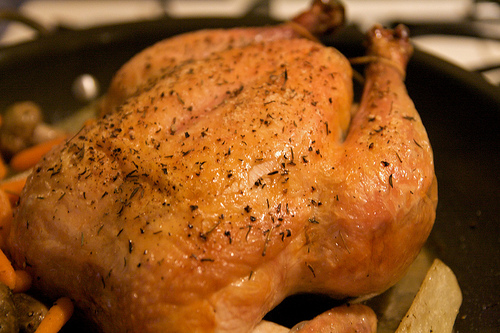 A chicken cooked in the crockpot doesn't have this same brown skin, but it's hard to get a good, appealing picture of a whole cooked chicken.