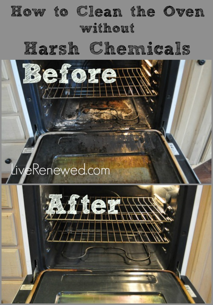 An easy way to clean your oven! How to clean the oven without harsh chemical cleaners at LiveRenewed.com.  #greencleaning
