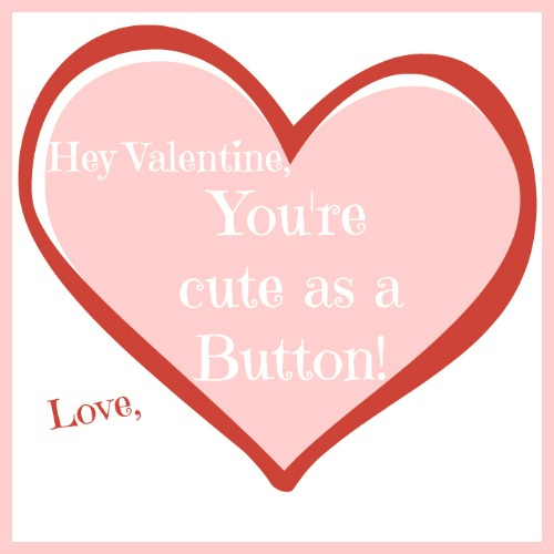 Cute as a Button Printable Valentine Card