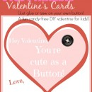 Cute as a Button: Free Printable Candy-Free Valentine's Cards