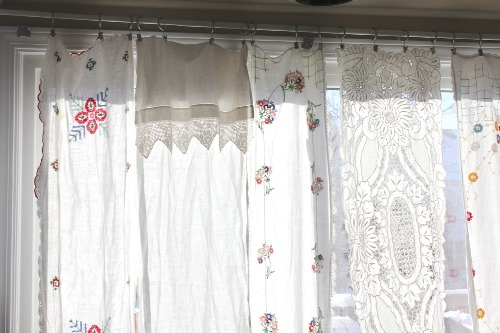 upcycled vintage linens to cafe curtains
