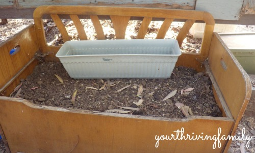 upcycled toy box garden container
