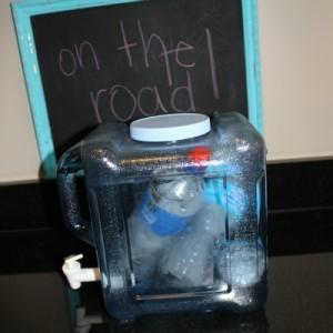frozen water bottles inside the water jug!