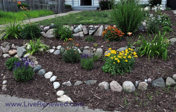 Our front yard rock walls and flower beds