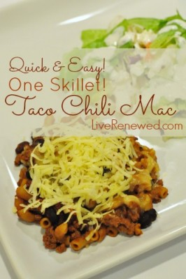 Quick and Easy, One Skillet Cheesy Taco Mac Recipe at LiveRenewed.com