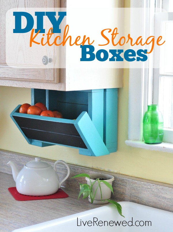 An easy DIY tutorial to make under-cabinet kitchen storage boxes. These boxes can hold produce or other kitchen items and help to keep your counters clear! A great weekend project! DIY Kitchen Storage Boxes @ LiveRenewed.com