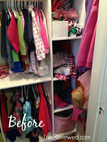 how to fold and organize kids clothes - before closet
