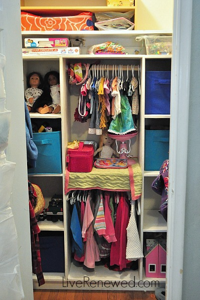 Kids closet toy storage