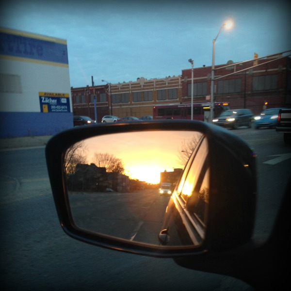 Sunrise in the rearview mirror - On Grief and Grace at LiveRenewed.com