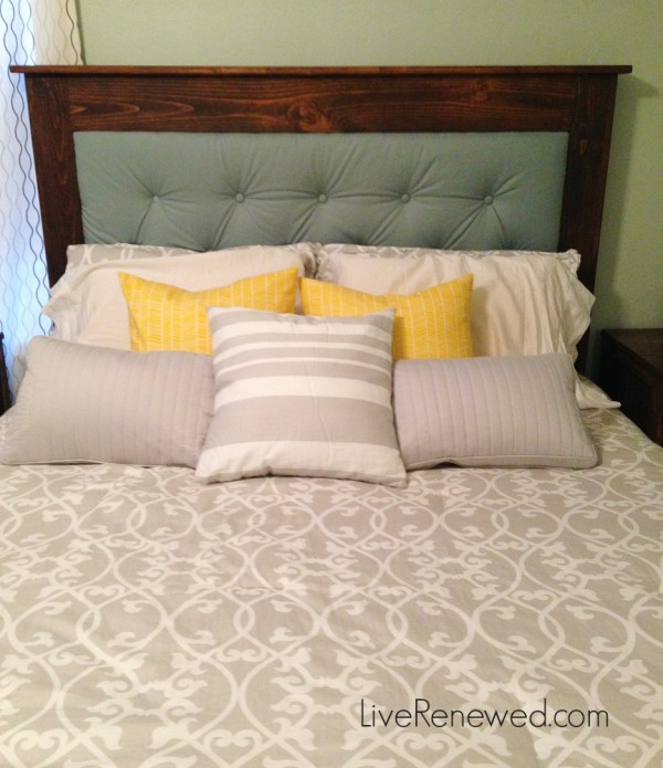 Still trying to figure out how to arrange the decorative pillows on our bed at LiveRenewed.com