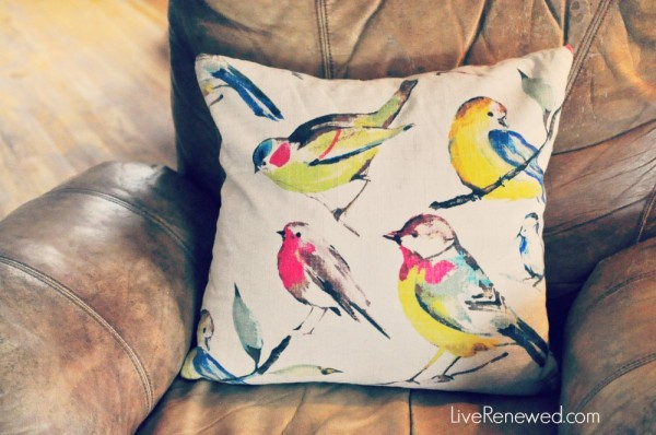 The bird pillow my husband thinks is ugly, but I love, so it stays at LiveRenewed.com