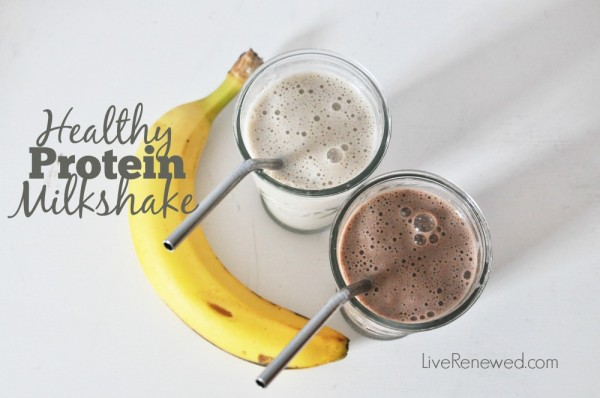 A healthy alternative for a cold, refreshing milkshake with an added protein boost. Healthy Banana or Chocolate Protein Milkshake at LiveRenewed.com