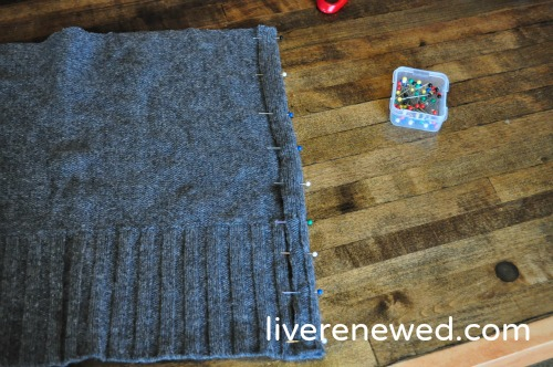 upcycled sweater pillow 3