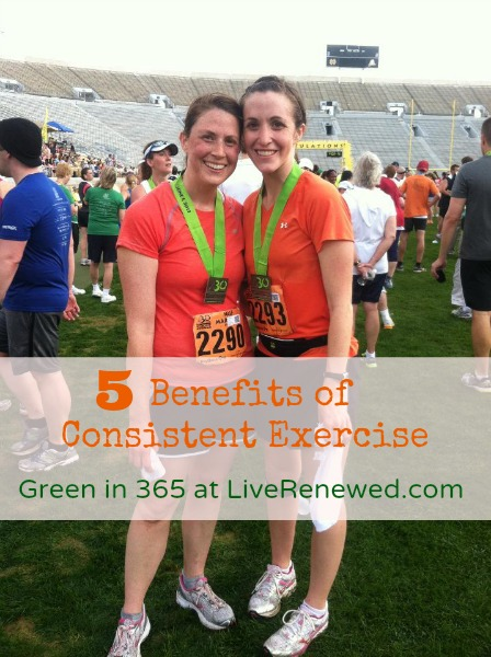 5 Benefits of Consistent Exercise on Green in 365 at LiveRenewed.com