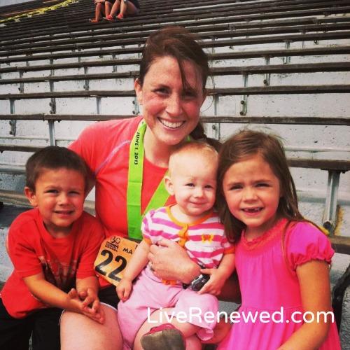 with my kids after the half-marathon