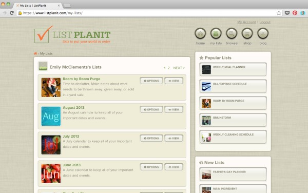 My Lists in ListPlan It