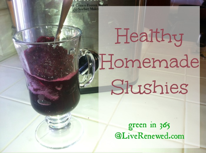 Healthy Homemade Slushies {Green in 365 at LiveRenewed.com}