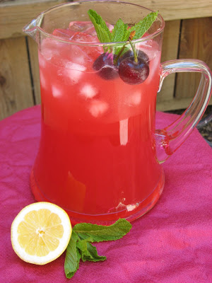Cherry mint lemonade from recipestonourish.com