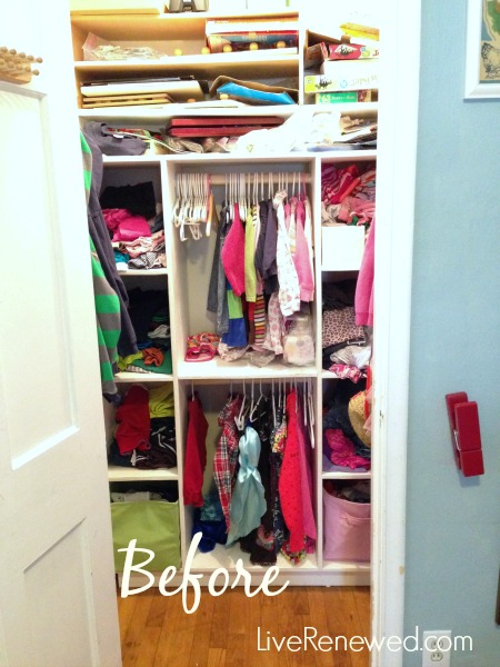 how to fold and organize kids clothing - before closet