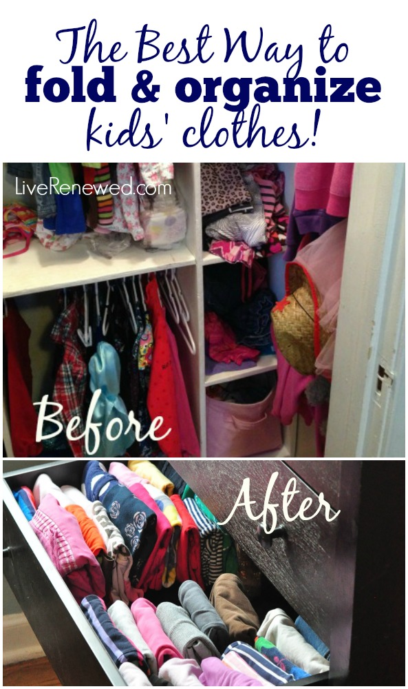 Are your kids' clothes in their dressers and closets stressing you out? Check out the Best Way to fold and organize your kids' clothes! at LiveRenewed.com