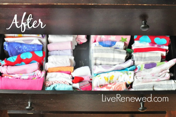 how to fold and organize kids clothes - after drawer