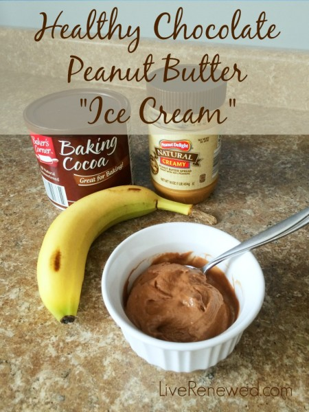 """Healthy Chocolate Peanut Butter """"Ice Cream"""" A Perfect snack to satisfy your sweet tooth! at LiveRenewed.com"""
