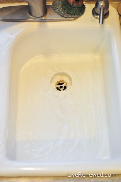 How to Clean a White Kitchen Sink without Harsh Chemicals at LiveRenewed.com