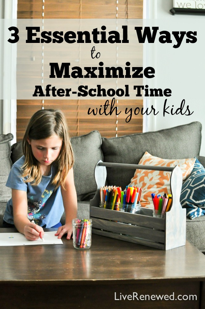 Maximize your after-school time with your kids with this great routine - snacks, activities, and family time. Essential tips for time management after-school!